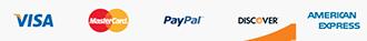 Visa, MasterCard, PayPal, Discover, American Express